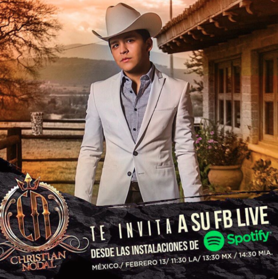 Christian Nodal FB Live Spotify Mexico